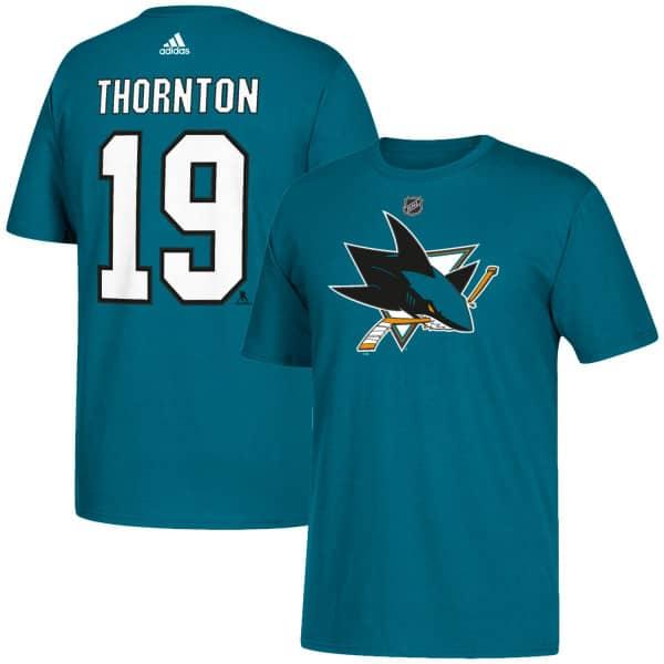 6876dbc309183 adidas Joe Thornton #19 San Jose Sharks Player NHL T-Shirt Türkis ...