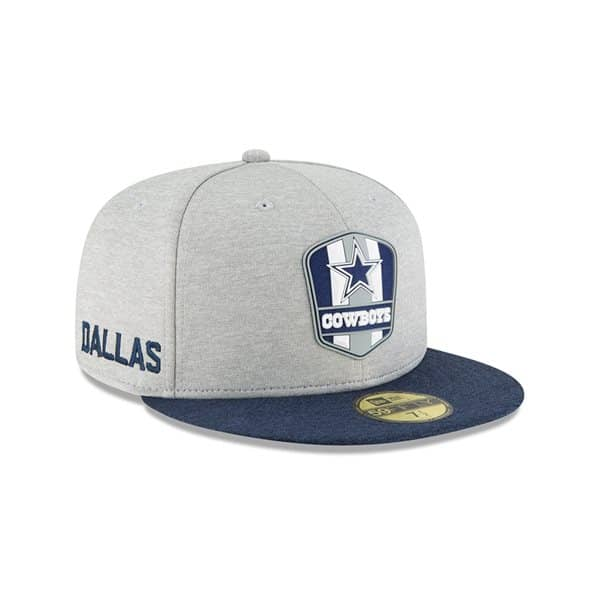 Dallas Cowboys 2018 NFL Sideline 59FIFTY Fitted Cap Road