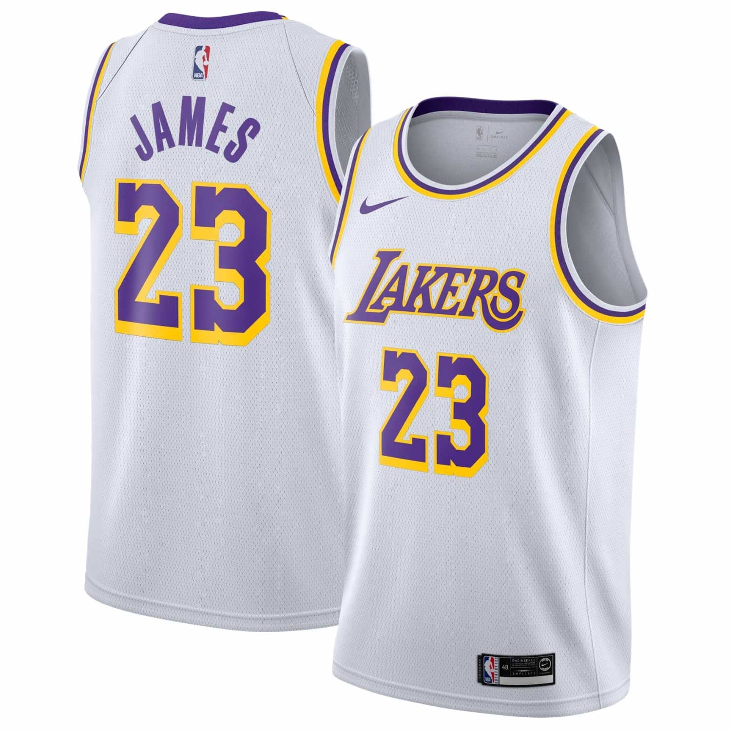 33b1d16c620 Nike LeBron James  23 Los Angeles Lakers Association Swingman NBA Jersey  White