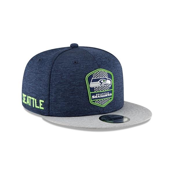 Seattle Seahawks 2018 NFL Sideline 9FIFTY Snapback Cap Road