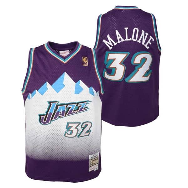 Karl Malone #32 Utah Jazz 1996-97 Youth Swingman NBA Trikot Lila (KINDER)