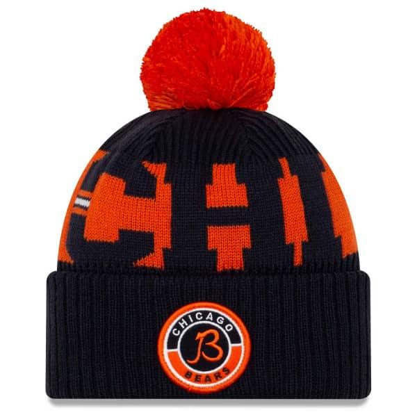"Chicago Bears ""B"" Official 2020 NFL Sideline New Era Sport Knit Wintermütze"