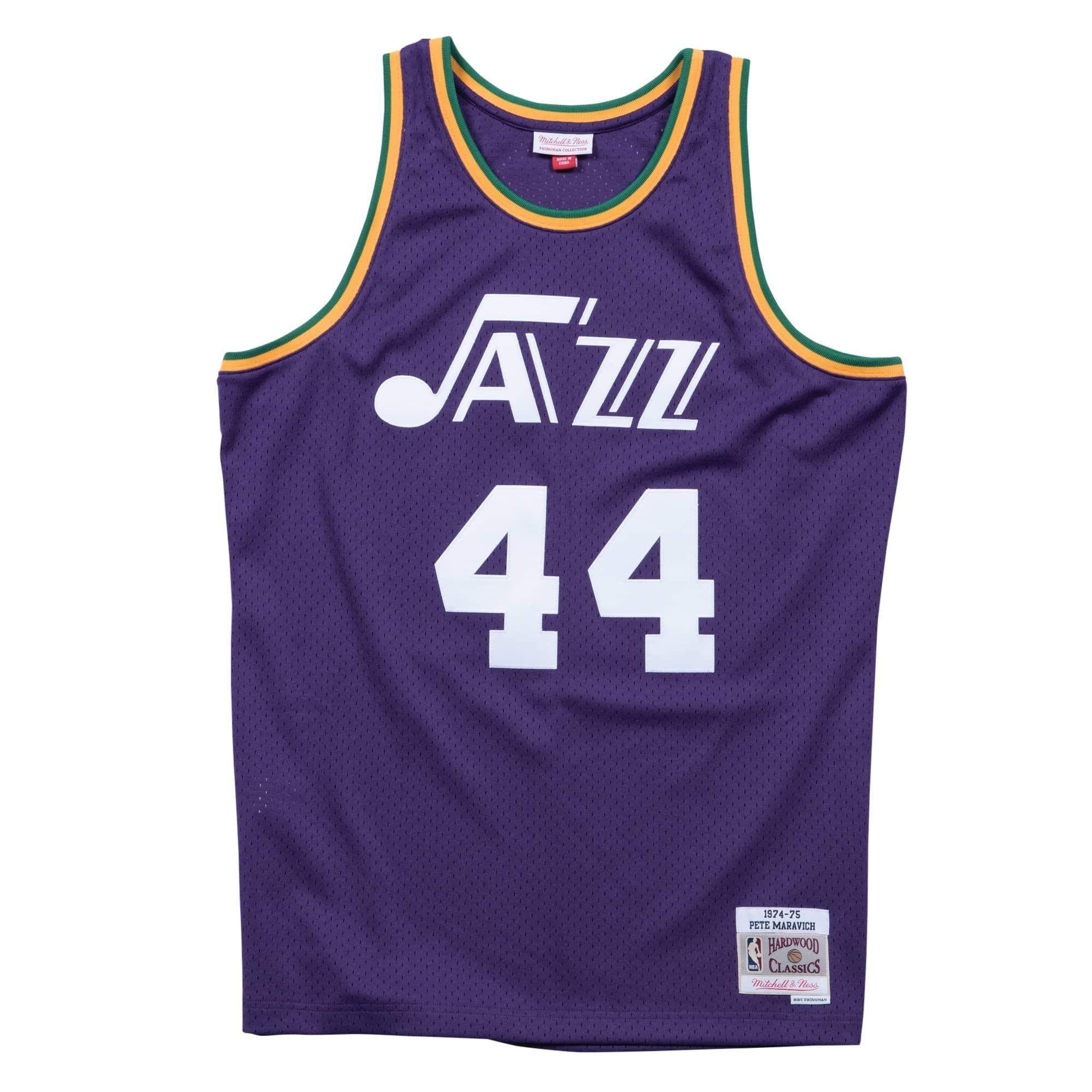 b408104b2b0 Mitchell & Ness Pete Maravich #44 New Orleans Jazz 1974-75 Swingman NBA  Jersey Purple | TAASS.com Fan Shop