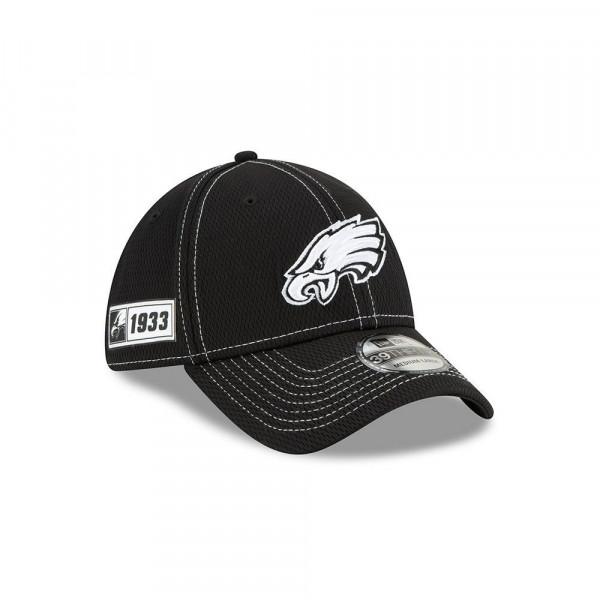 Philadelphia Eagles 2019 NFL Sideline Black 39THIRTY Stretch Cap Road