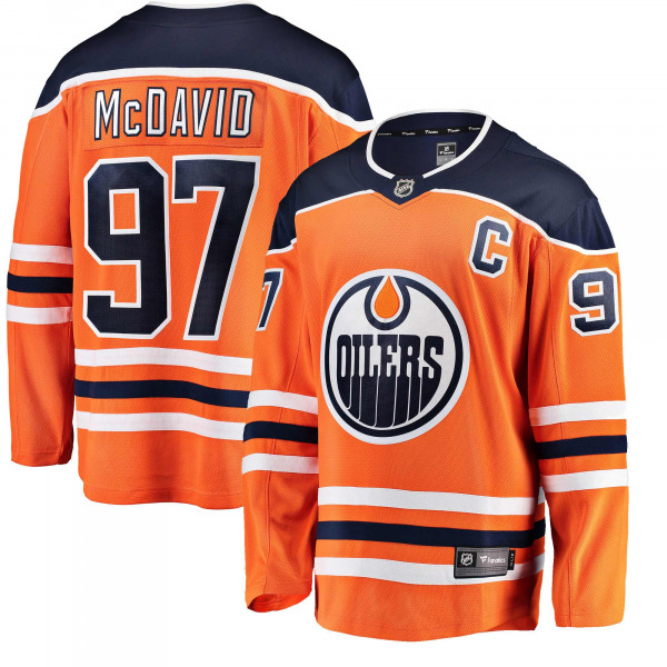 Connor McDavid #97 Edmonton Oilers Breakaway NHL Trikot Orange
