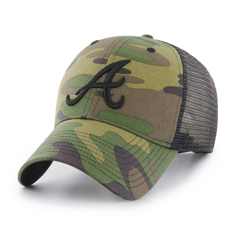 reputable site 567bd c5206  47 Brand Atlanta Braves Camo Branson MLB Trucker Cap   TAASS.com Fan Shop