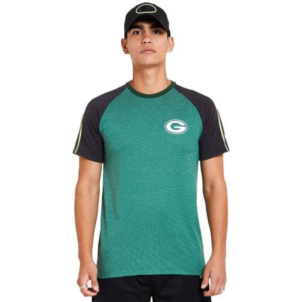 Green Bay Packers Stripe Raglan New Era Performance NFL T-Shirt