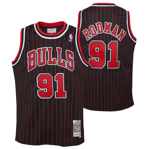 Dennis Rodman #91 Chicago Bulls 1995-96 Youth Swingman NBA Trikot Pinstripe (KINDER)