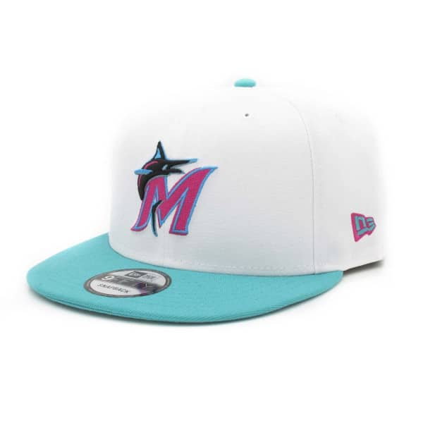 Miami Marlins 2-Tone MLB Snapback Cap Weiß-Teal