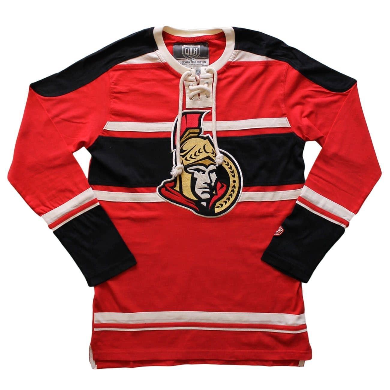 cb6f8b38477 Old Time Hockey Ottawa Senators Wisner Lace Up Long Sleeve NHL Shirt ...