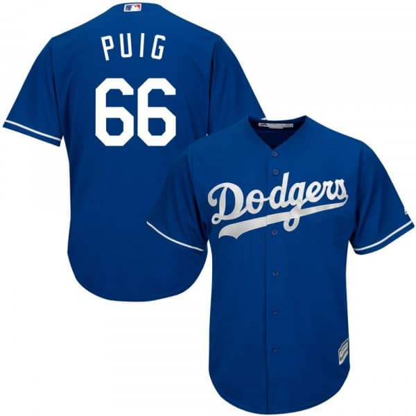 Yasiel Puig #66 Los Angeles Dodgers Cool Base MLB Trikot Alternate Blau