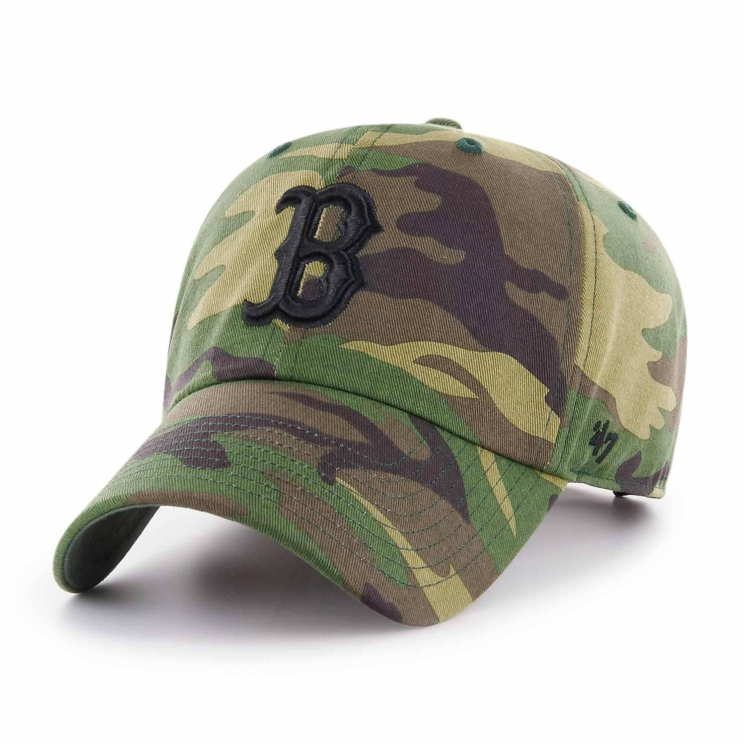 47 Brand Boston Red Sox Unwashed Camo Clean Up Adjustable MLB Cap ... 4174183043f5