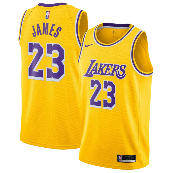 1499f8fe8 Nike LeBron James  23 Los Angeles Lakers Icon Swingman NBA Jersey Yellow