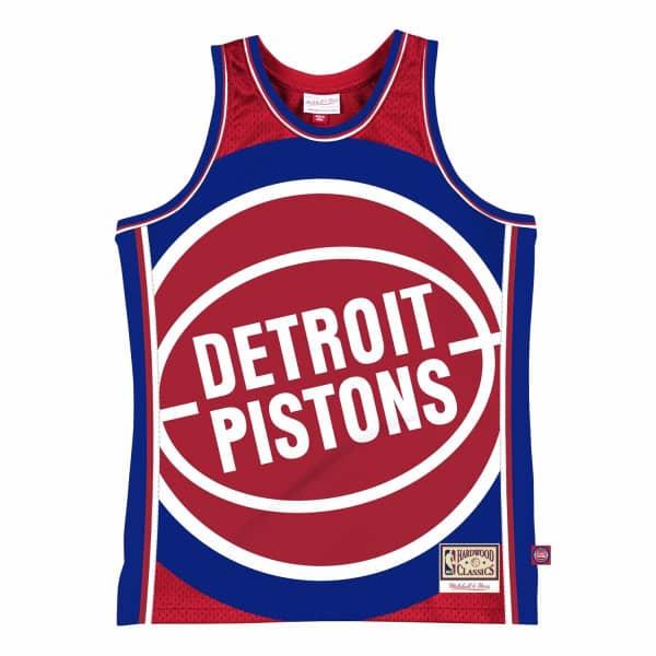 Detroit Pistons Big Face 2.0 Mitchell & Ness NBA Jersey Rot