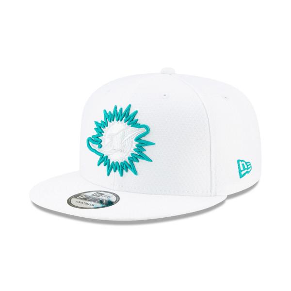 e908c0e4 Miami Dolphins 2019 NFL On-Field Sideline Platinum 9FIFTY Snapback Cap