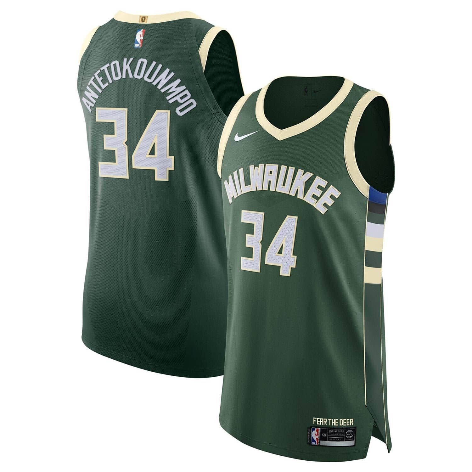 06532b0a9e6 Nike Giannis Antetokounmpo #34 Milwaukee Bucks Icon Authentic NBA Jersey  Green | TAASS.com Fan Shop