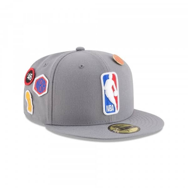 classic fit c2e18 9d757 New Era NBA Logo 2018 NBA Draft 59FIFTY Fitted Cap Storm Grey   TAASS.com  Fan Shop