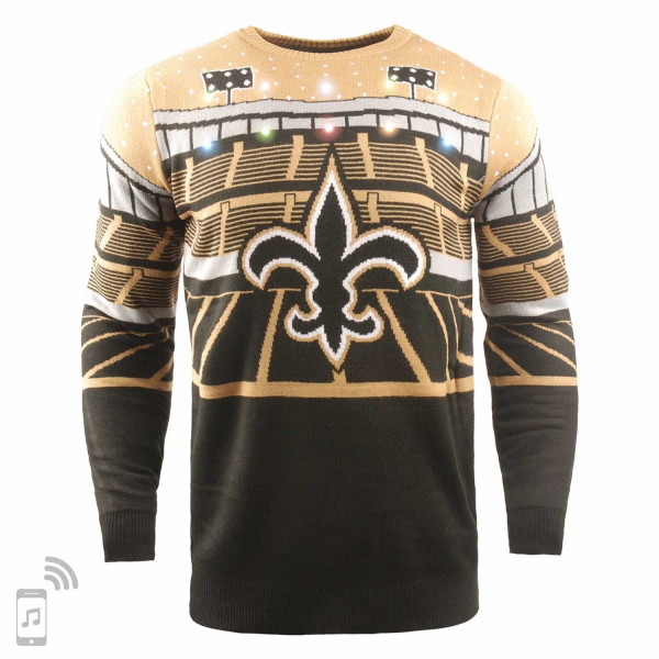 New Orleans Saints Light Up Bluetooth NFL Ugly Holiday Sweater