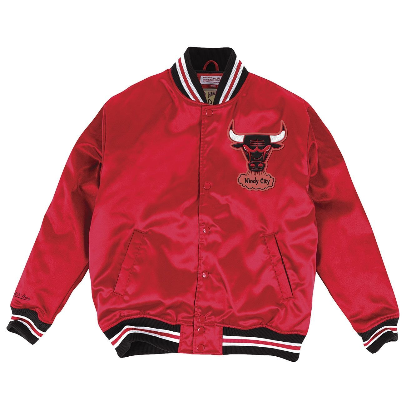 mitchell ness chicago bulls hwc satin nba jacke rot. Black Bedroom Furniture Sets. Home Design Ideas