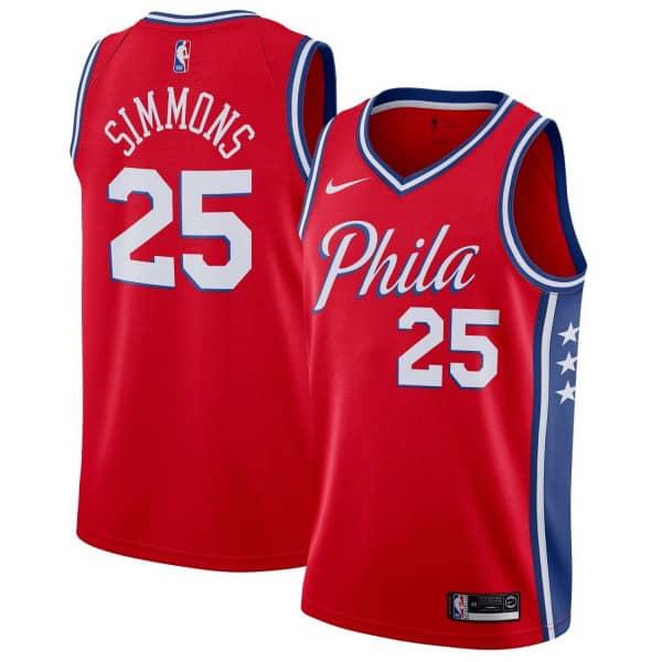 Ben Simmons #25 Philadelphia 76ers Statement Swingman NBA Trikot Rot
