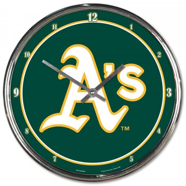 Oakland Athletics Chrome MLB Wanduhr