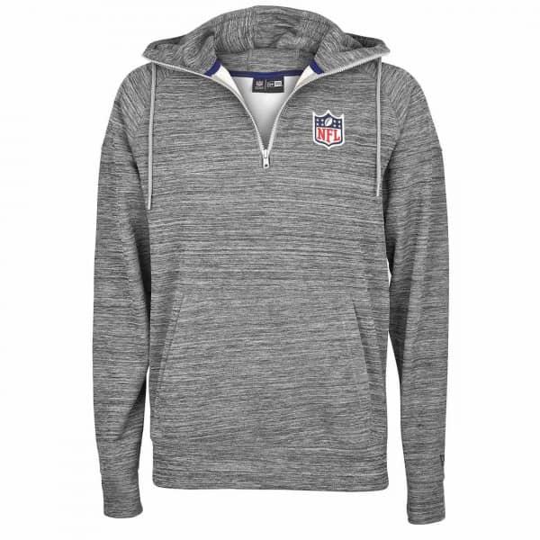 NFL Shield Logo Quarter-Zip Hoodie Sweatshirt Grau