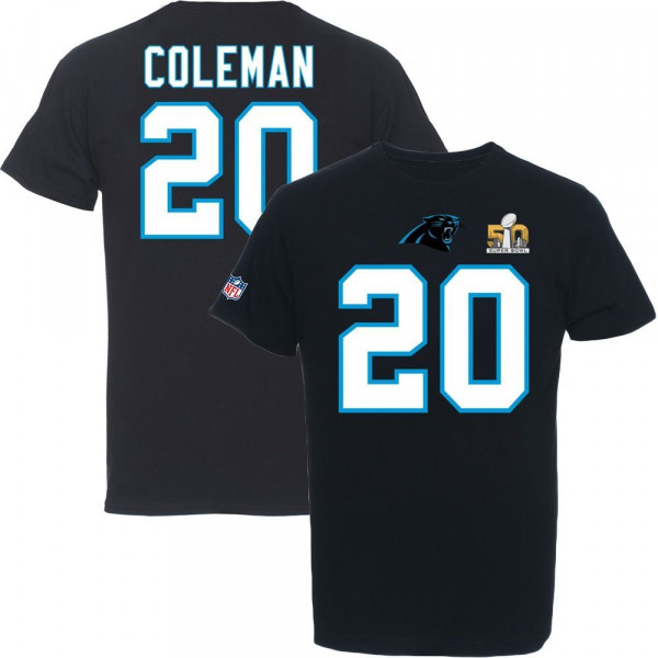 Kurt Coleman #20 Carolina Panthers Super Bowl 50 NFL T-Shirt Schwarz