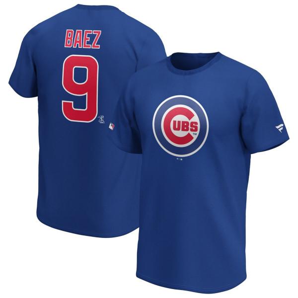 Javier Baez #9 Chicago Cubs Fanatics Iconic Player MLB T-Shirt Blau