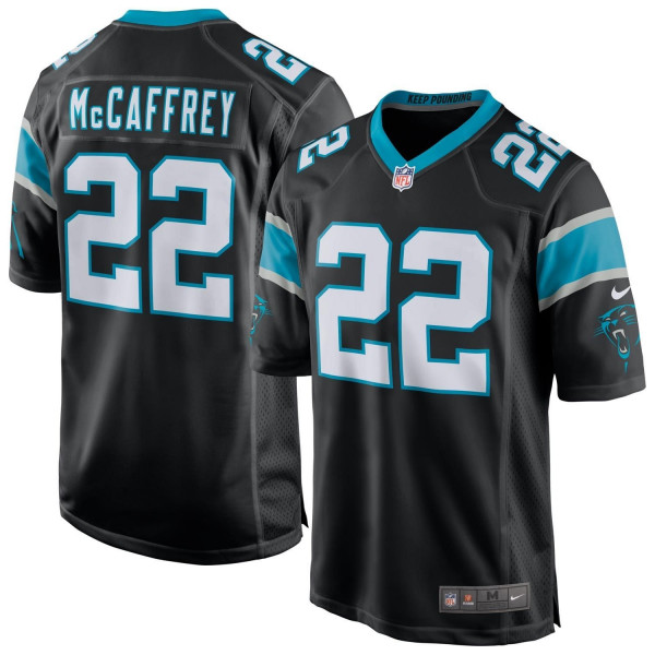Christian McCaffrey #22 Carolina Panthers Game Football NFL Trikot Schwarz