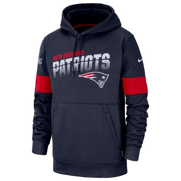 New England Patriots 2019 NFL Sideline Therma Hoodie Navy