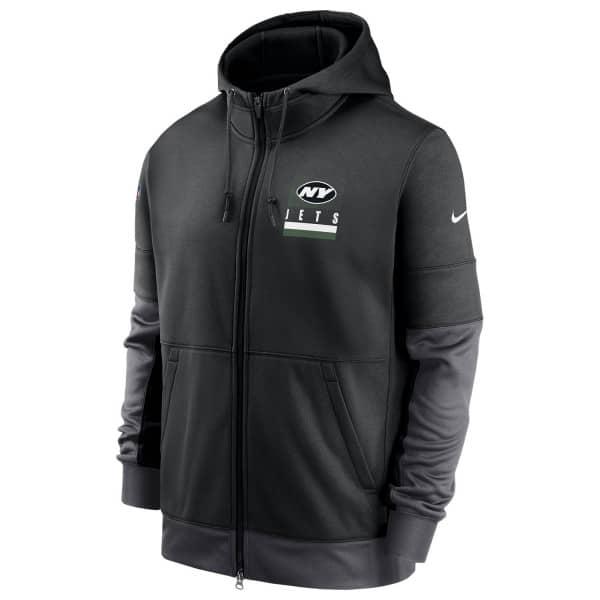 New York Jets 2020 NFL Sideline Lockup Nike Therma Full-Zip Hoodie