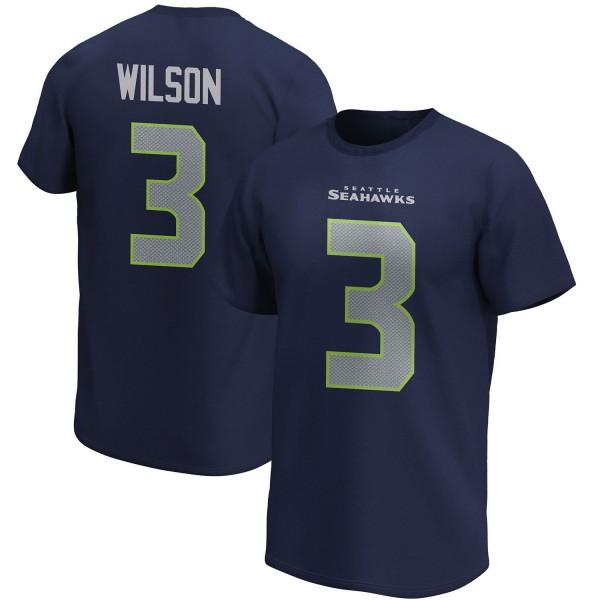 Russell Wilson #3 Seattle Seahawks Fanatics Player Script NFL T-Shirt Navy