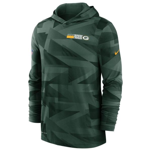Green Bay Packers 2020 NFL Sideline Long Sleeve Nike Lightweight Hoodie
