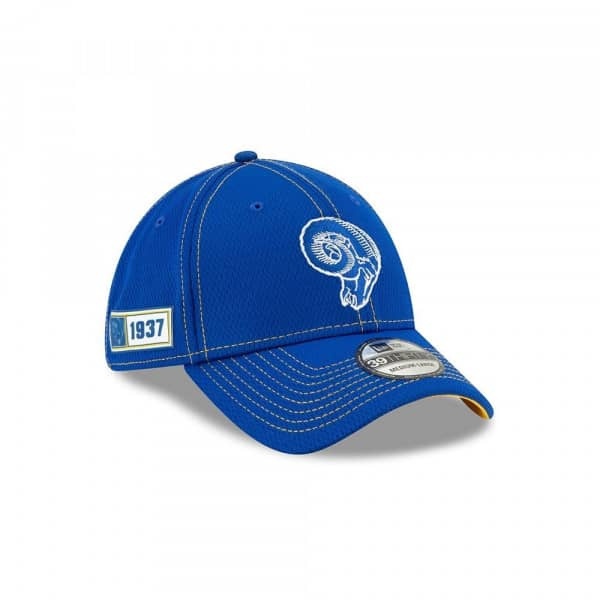 Los Angeles Rams Throwback 2019 NFL On-Field Sideline 39THIRTY Stretch Cap Road