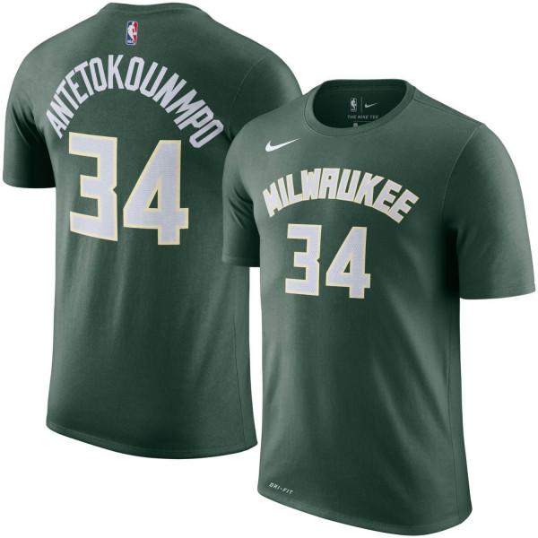 Giannis Antetokounmpo #34 Milwaukee Bucks Player NBA T-Shirt Grün