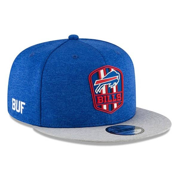 official photos 9d2e6 be325 Buffalo Bills 2018 NFL Sideline 9FIFTY Snapback Cap Road