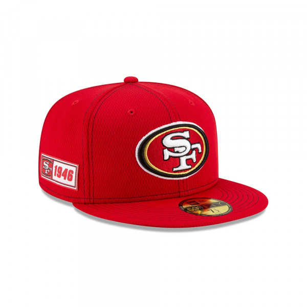 San Francisco 49ers 2019 NFL On-Field Sideline 59FIFTY Fitted Cap Road