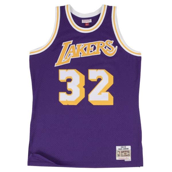 Magic Johnson #32 Los Angeles Lakers 1984-85 Mitchell & Ness Swingman NBA Trikot Lila
