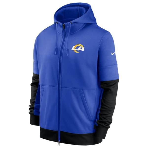 Los Angeles Rams 2020 NFL Sideline Lockup Nike Therma Full-Zip Hoodie
