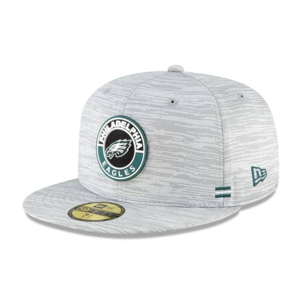Philadelphia Eagles Official 2020 NFL Sideline New Era 59FIFTY Fitted Cap Road