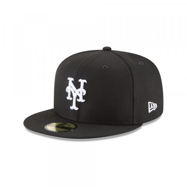 New York Mets Black & White 59FIFTY Fitted MLB Cap