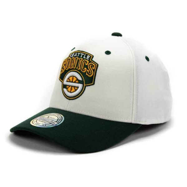 best website d782d 4a083 Mitchell   Ness Seattle SuperSonics 110 FlexFit White Top Snapback NBA Cap    TAASS.com Fan Shop