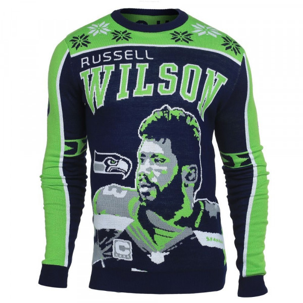 Seattle Seahawks Russell Wilson #3 Crewneck NFL Ugly Sweater