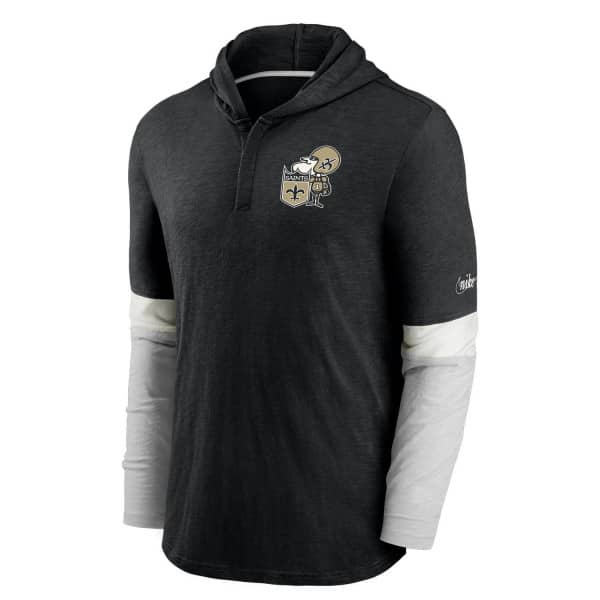 New Orleans Saints 1967 NFL Historic Nike Long Sleeve Henley Hoodie