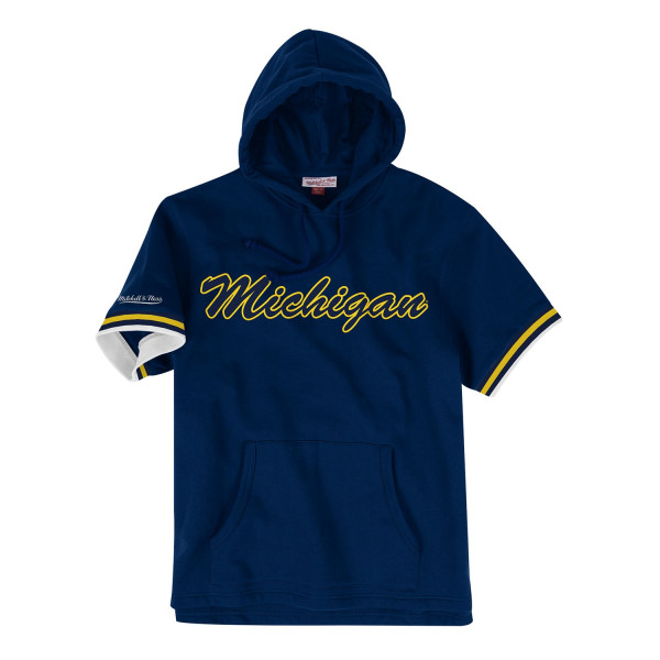 Michigan Wolverines French Terry Mitchell & Ness Short Sleeve NCAA Hoodie