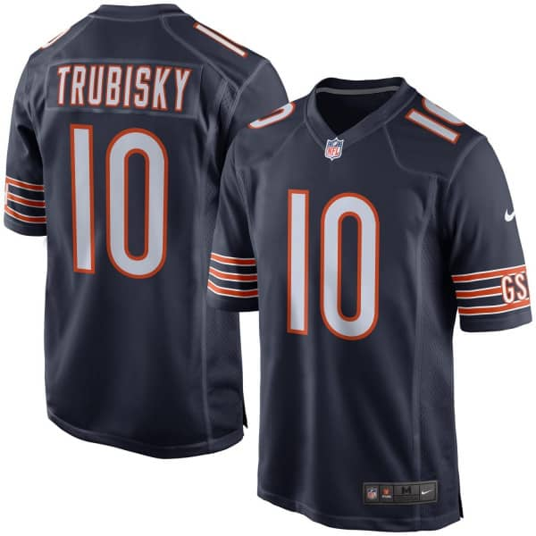 Mitch Trubisky #10 Chicago Bears Game Football NFL Trikot Navy