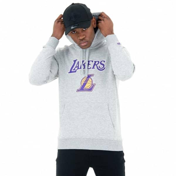 8f1dbfafd79 New Era Los Angeles Lakers Team Logo Hoodie NBA Sweatshirt Grey ...
