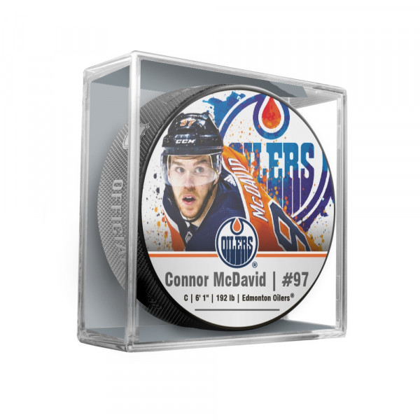 Connor McDavid Edmonton Oilers Star Player NHL Puck