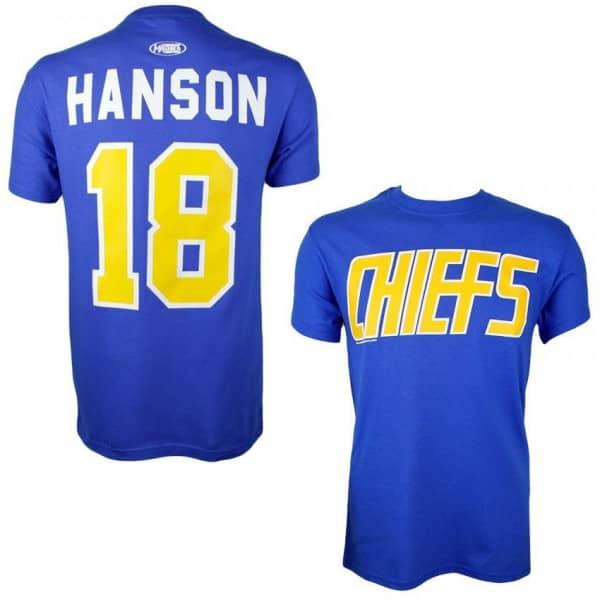 Slapshot Charlestown Chiefs Jeff Hanson #18 Eishockey T-Shirt Blau