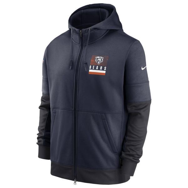 Chicago Bears 2020 NFL Sideline Lockup Nike Therma Full-Zip Hoodie